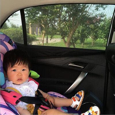 2x Car Rear Window UV Mesh Sun Shades Blind Kids Children Sunshade Blocker Black 2