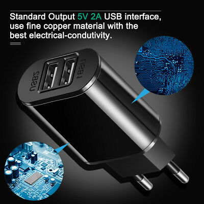 5V 2A EU Dual USB 2-Port Fast Charger Mobile Phone Wall Power Adapter For iPhone 2