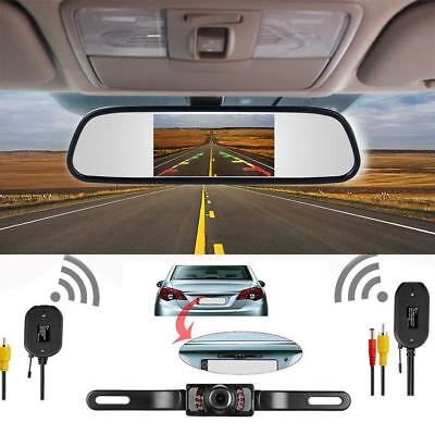 "4.3"" Car TFT LCD Monitor Mirror+Wireless Reverse Car Rear View Backup Camera HD 2"