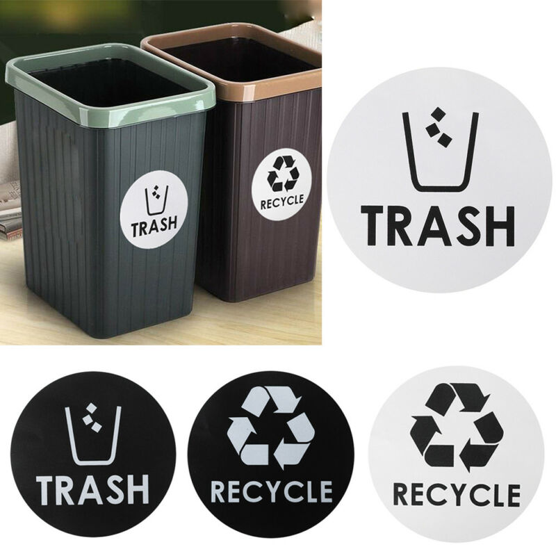 Recycle and Trash Symbol Sticker Trash Garbage Container Home Decor Vinyl Decal
