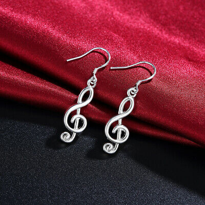 Fashion women elegant 925 Silver Musical notes Earring Jewelry wedding charms 4