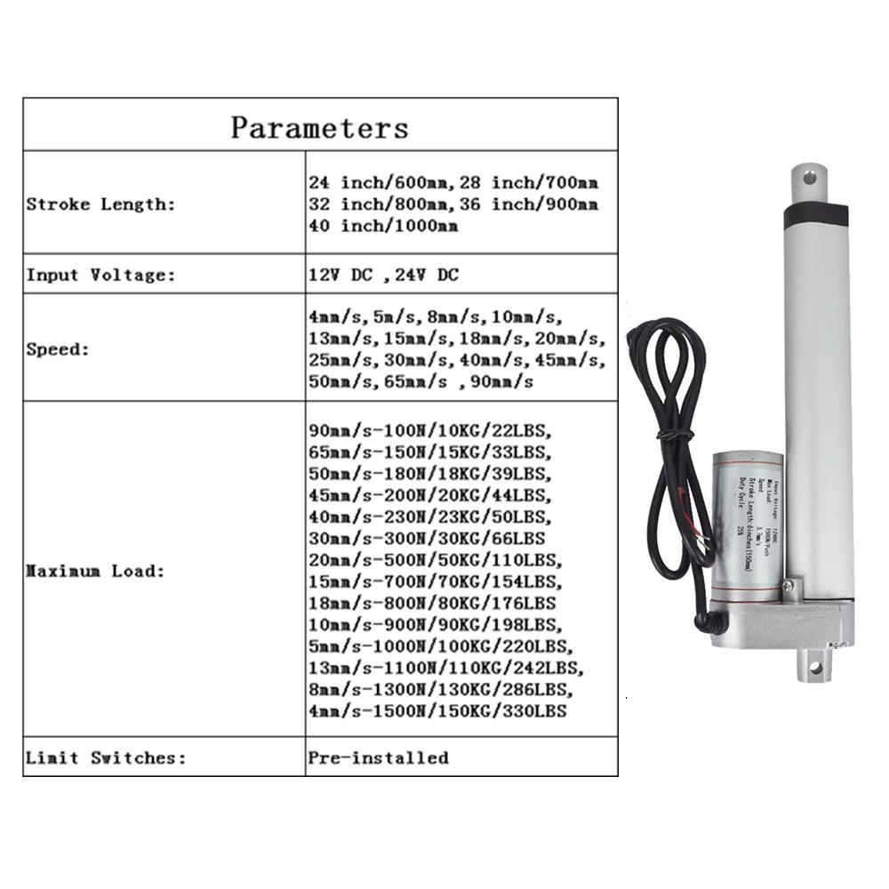 Stroke L600-1000mm Linear Actuator 12 Volt 12V/24V 330 Pounds lbs Maximum Lift 7