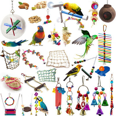 Pets Bird Toy Parrot Hanging Swing Rope Cage Toys Parakeet Cockatiel Budgie Lot 4