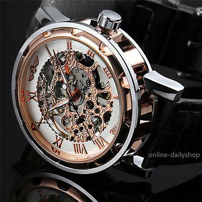 Men's Skeleton Mechanical Wrist Watch Steampunk Luxury Black Leather Stainless 6