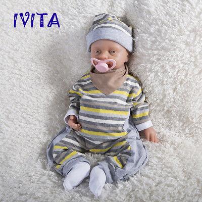 IVITA 18'' Full Body Silicone Reborn Baby Cute GIRL Doll Accompany Birthday Gift 3