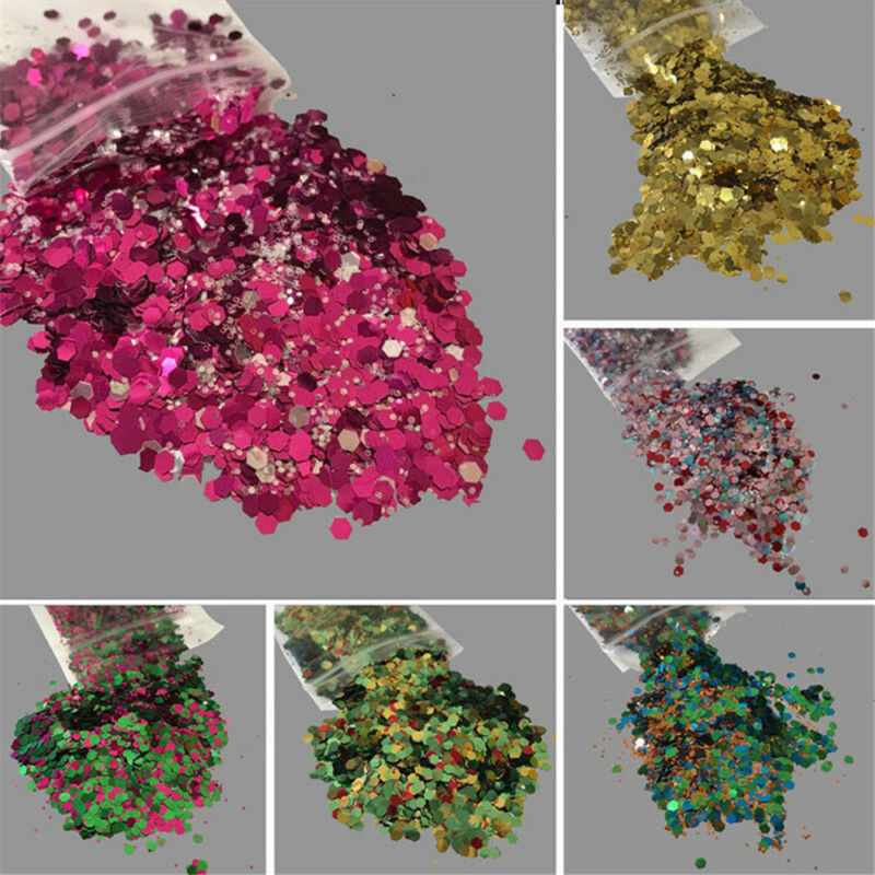 10g Mixed Holographic Flake Chunky Festival Glitter Nail Face Tattoo Body Dance 2