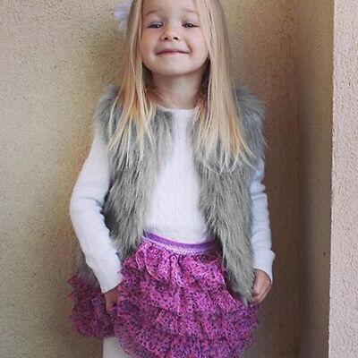 Baby Girls Kid Winter Faux Fur Waist Gilet Jacket Outwear Vest Coat Waistcoat AE 2