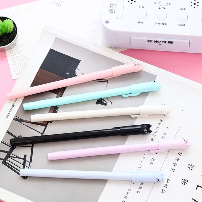 6 PCS Cartoon Cat Gel Pen Black Ink Pen Kawaii Stationery School Office Supplies 4