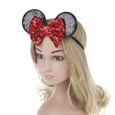 Kids Sequin MINNIE MICKEY MOUSE Headband Ears Bow Fancy Party Dress Up Accessory 6