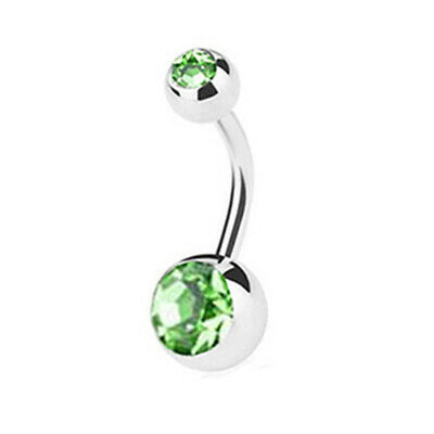 Double Gem Surgical Steel Belly Bars Navel Button Bar Body Piercing Jewellery 10