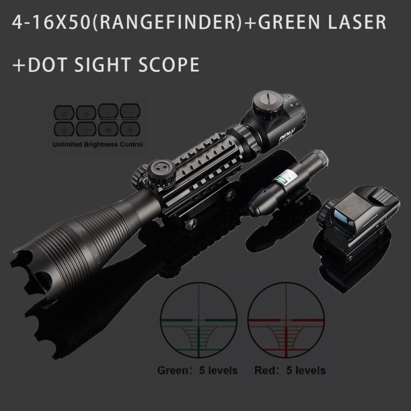 4-16x50 3in1 Combo Rangefinder Rifle Scope W/Green Laser &Reflex Dot Sight Scope 10