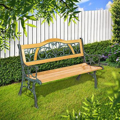 Banc mobilier meuble de jardin parc terrasse en bois et fonte 124cm 2