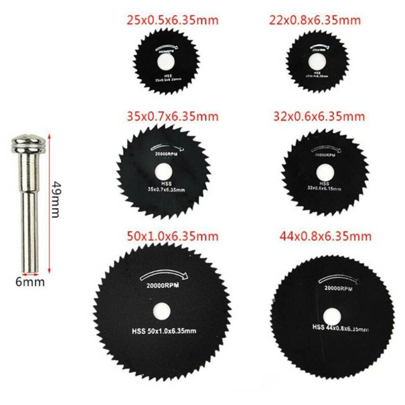 7Pcs Wheel Cutting Blades 22-50mm HSS Saw Disc For Dremel Drills Rotary Tools UK 2
