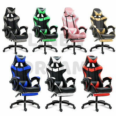 Gaming Chair Office Computer Seating Racing PU Leather Executive Racer Footrest 3