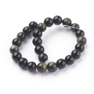 lot de 30 perles  6 mm obsidienne dorée gemme  naturel 3