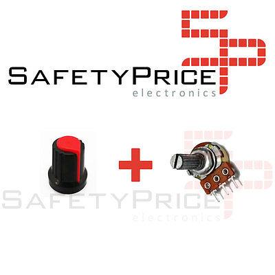 3x Potenciometro B100K lineal 100k + 3x Embellecedor boton Arduino knob 16mm 4