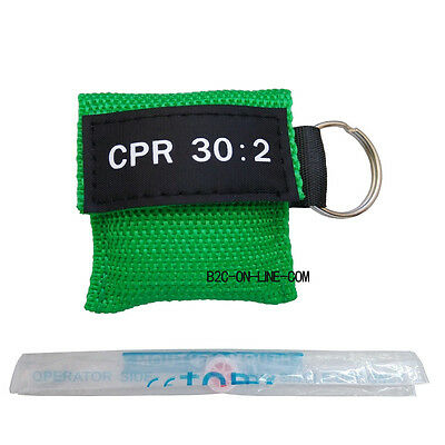 100 Cpr Mask Keychain Cpr Face Shield  Aed Green Writing Cpr 30:2 3