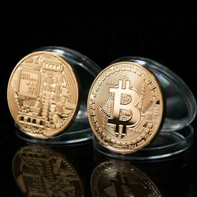 New 2018 Bitcoin Physical Collectible Coin BTC Gold Plated 1 Ounce 40mm UK STOCK 6