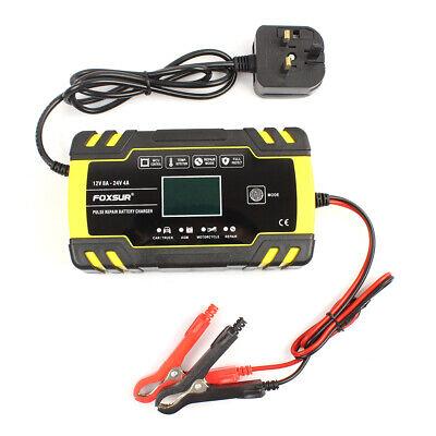 8 Amp Intelligent Car Battery Charger Pulse Repair Starter 12V/24V AGM/GEL UK 8