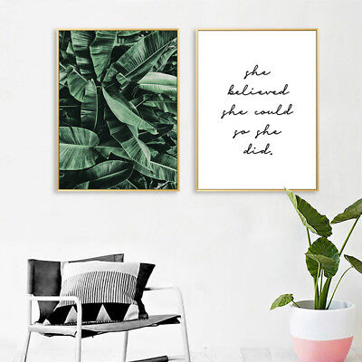 Banana Leaves Canvas Painting Wall Art Poster Quotes Nordic Print Home Decor 2