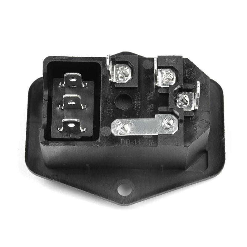 URBEST 10A 250V AC Rocker Switch 3 Pin IEC320 C14 Inlet Module Plug 5A Fuse 9