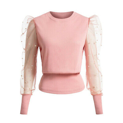 Womens Shirt Beaded Ladies Party Blouse Basic Mesh Jumper Pearls Tee Lace Tops