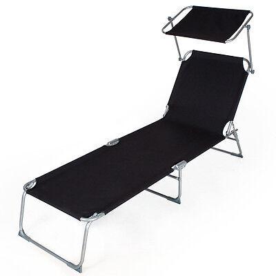 4 sur 5 2 x chaise longue de jardin pliante transat bain pare soleil noir