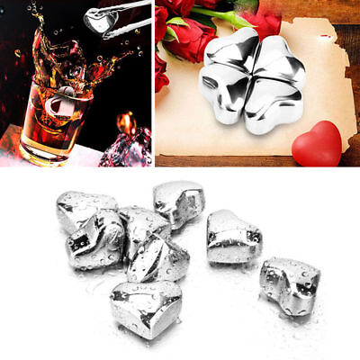 Reusable Stainless Steel Heart Shaped Ice Cubes Cold Drink Cooler Freezer Blocks