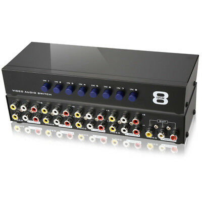 AV Switch Box Composite Selector 8 Port RCA Audio Video 8 In 1 Out To TV 2