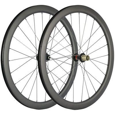Carbon Wheelset Disc brake Clincher Tubeless 700C Road Bike Floating Rotor 55mm