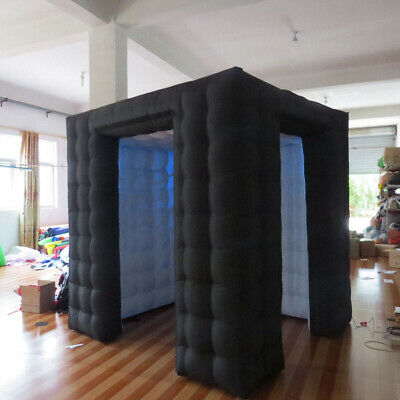2.8M Inflatable Photo Booth LED Lighting Tent Air Pump 2 Doors+Remote Controller 2