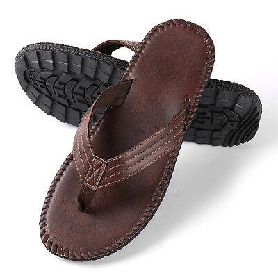 10-12 Anti-slip Leather Men/'s Thong Flip-Flops Summer Beach Sandals Shoes Size