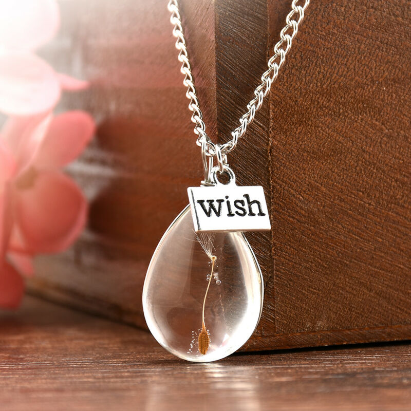 Wish Glass Real Dandelion Seeds In Glass Wish Bottle Chain Necklace Pendant 4
