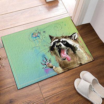 Glasses Raccoon Shower Curtain Liner Bathroom Mat Waterproof Fabric /& 12 Hooks