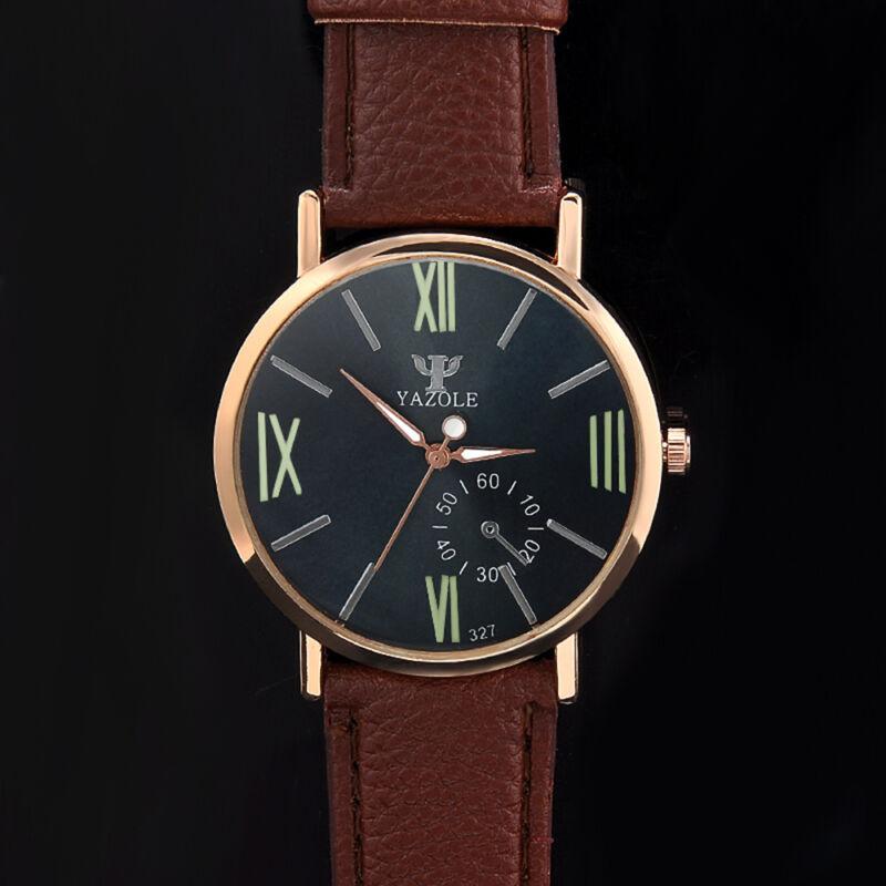 Men's Date Leather Stainless Steel Fashion Noctilucent Sport Quartz Wrist Watch 4