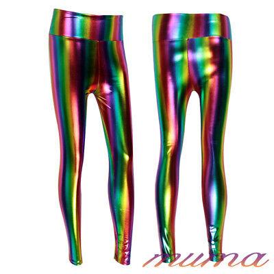 87cf2c6fc31c57 ... New Ladies Wet Look High Waist Shine Rainbow Multi Coloured Stripe  Leggings Hot 3