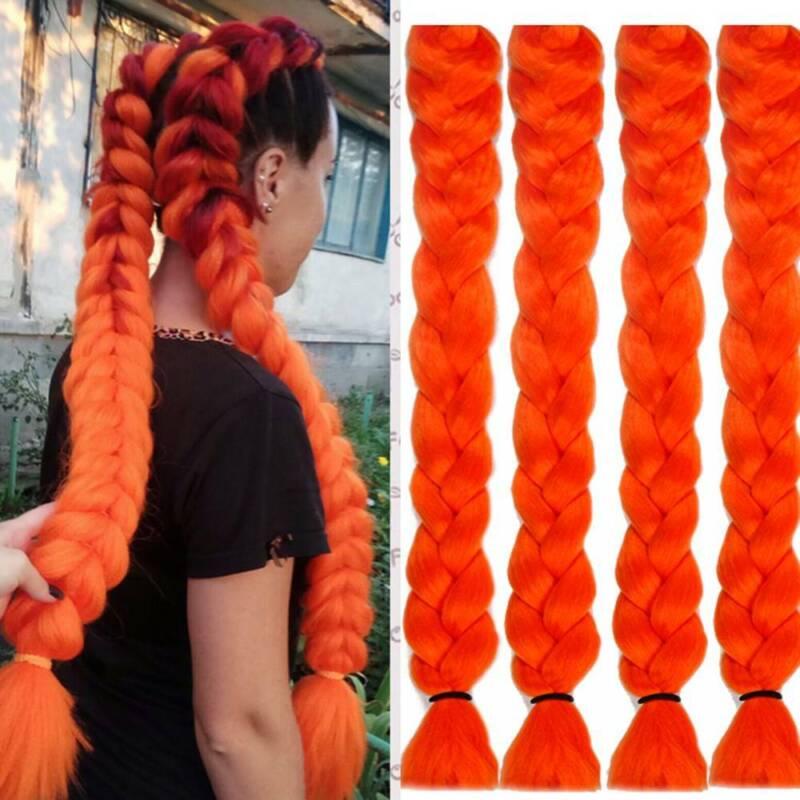 Colored 82'' Synthetic Kanekalon Jumbo Braiding Hair Extension Afro Twist Braids 4