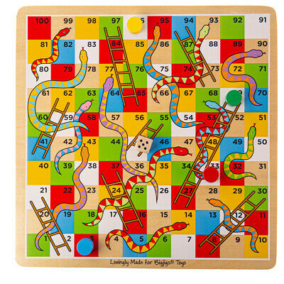 Bigjigs Toys Traditional Wooden Snakes and Ladders Family Board Game Playset 6