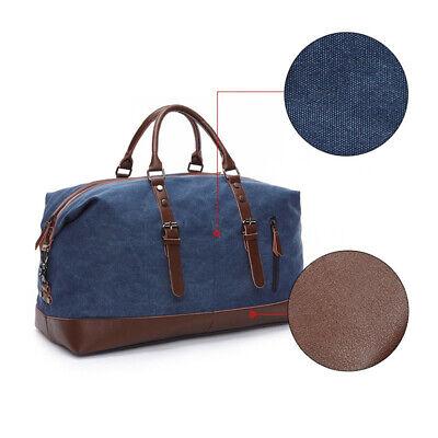 Vintage Men's Canvas Leather Travel Duffle Bag Shoulder Weekend Luggage Gym Tote 9