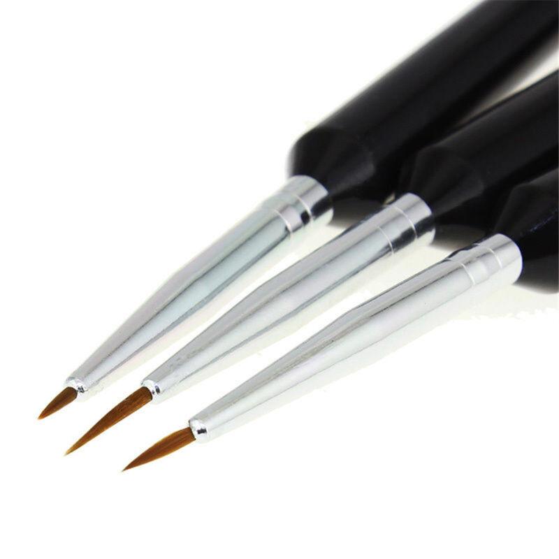 3Pcs Nail Art Pen Dotting Drawing Painting UV Gel Liner Polish Brush Accessories