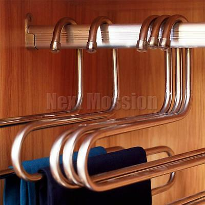 1-10pcs Pants Clothes Hangers Trousers S Type Layer Holder Scarf Tie Towel Rack 7