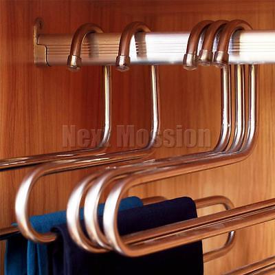1-10pcs Pants Hangers Trousers S Type Layer Holder Scarf Tie Towel Rack Multi AU 7