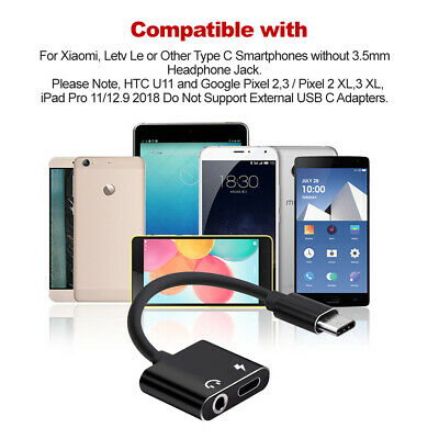 2in1 USB Type-C to 3.5mm Headphone Jack Adapter AUX & Sync Data Charge Cable 5