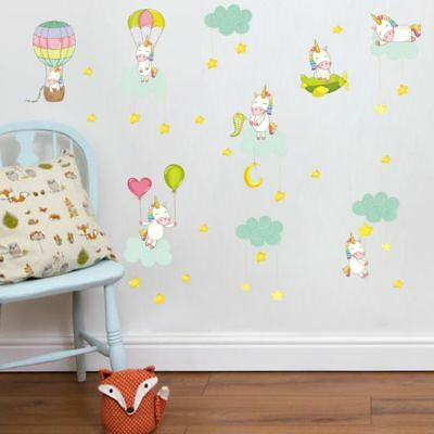 UNICORN CLOUDS HOT Air Balloon Wall Sticker For Girls Bedroom Kids ...
