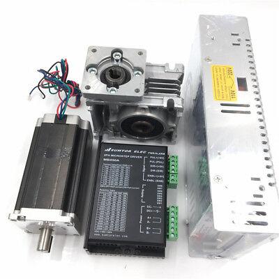 3NM Stepper Motor NEMA23 Drive Kit L112mm Worm Gear Reducer30:1&Power Supply CNC 4
