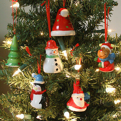 Ceramic Christmas Tree Decorations.6 Hand Painted Ceramic Christmas Tree Decorations Santa Hat Snowman Tree Penguin