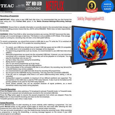 "TEAC 32"" Inch HD SMART TV Netflix Youtube WIFI PVR APP Made Europe 3 Yr Warranty 8"