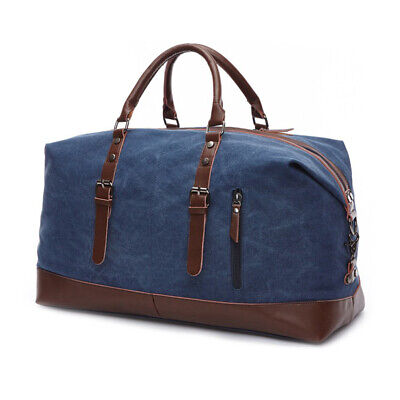Vintage Men's Canvas Leather Travel Duffle Bag Shoulder Weekend Luggage Gym Tote 7