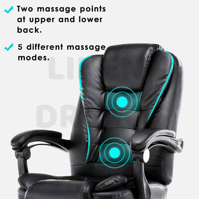 Executive Massage Office Chair Premium PU Leather Recliner Computer Gaming Seat 10