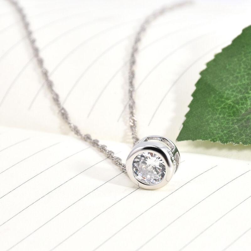 Fashion Women Round Single Crystal Rhinestone Silver Pendant Necklace Jewelry 10